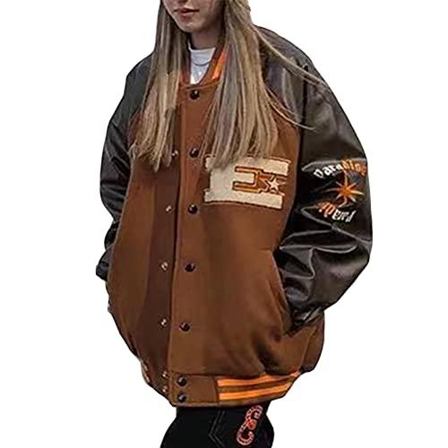 ORANDESIGNE Abrigos para Mujer Chaqueta de Béisbol Bomber Jacket Hombre Hip Hop Harajuku Retro Cremallera Botones Bolsillos Patchwork Mangas de Cuero PU Abrigo de Lana Otoño Invierno N Marrón XL