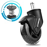 ATOMDOC Office Chair Caster Wheels, 3' Newly Lightweight Caster Wheels & Revolutionary Swivel Vertical Axle, Safe Protection for All Floors Including Hardwood, Set of 5
