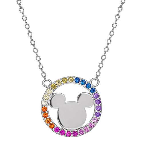 Retro Styler Piedra Colgante de Collar de Plata esterlina Mickey Mouse del Arco Iris