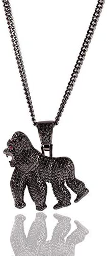Moca Jewelry Hip Hop Iced Out Bling Ape Pendant Individual Necklace 14K Gold Plated Micro Pave product image