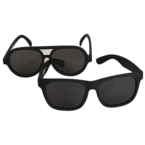 Emmzoe The Little Sunglass Sunglasses Aviator and Classic 2 Set - Black Frame/Smoke Lens UV 400 Protection (Infant Toddler (0-3 Years)) Missouri