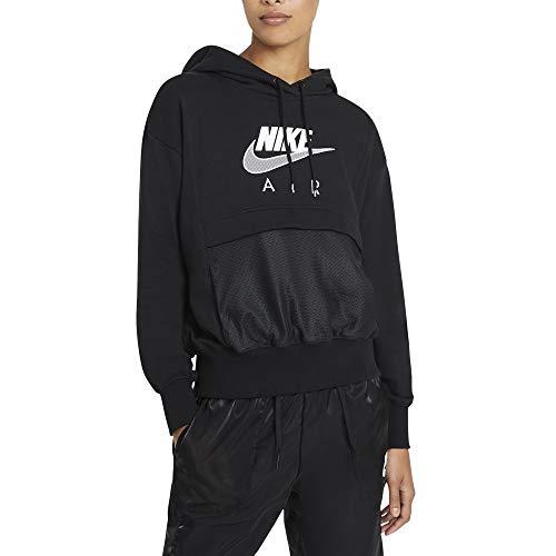 Nike Air - Felpa con Cappuccio da Donna, Donna, Felpa con Cappuccio, CZ8620, Nero/Bianco, XL