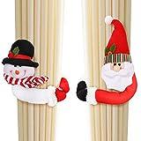 Abrazaderas cortinas (2 piezas) cuerda cortina figuritas de navidad papá noel y muñeco de nieve set adorno de navidad para sujetar cortinas (14 cm) - con gancho y bucle para decoraciones árbol navidad