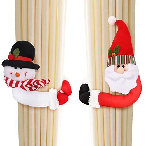 BELLE VOUS Vorhanghalter (2 STK) - Nikolaus und Schneemann Vorhang Raffhalter Set Weihnachten (14cm) – Gardinen Schlaufenschal Gardinenkordel Halter Vorhänge mit Klettverschluss als Weihnachtsdeko