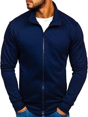 BOLF Felpa – Pullover – Maglia - Senza Cappuccio – con Zip - Stile Sportivo – da Uomo J.Style 35015 Blu M [1A1]