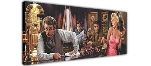 "MARILYN MONROE ELVIS PRESLEY James Dean in Bar Pop Art Canvas Prints Art Wand Bilder Bild Raum Dekoration Zuhause Hollywood Legends Nostalgie, canvas holz, 12- 40\"" X 20\"" (101CM X 50CM)"