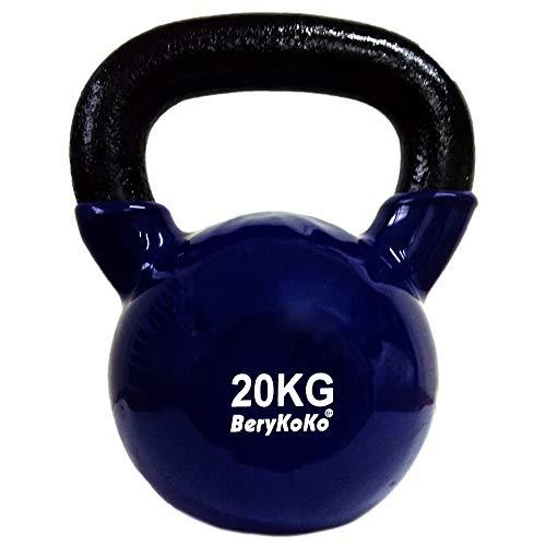 BeryKoKoケトルベル(色:ブルー 20kg) コーティング エクササイズ 正規品/18ヶ月保証 4kg/6kg/8kg/10kg/12kg/16kg/20kg/24kg 体幹トレーニング 筋トレ 筋力トレーニング シェイプアップ ([b] 20kg(ブルー))