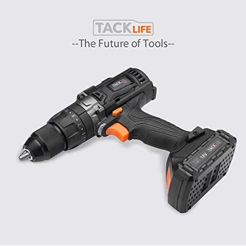 Taladro Atornillador 18 V, TACKLIFE Taladro Percutor,Max 35 Nm, 2x 2.0Ah Baterías Litio 18V, 13 mm Portabrocas Automatico,1H Carga Rápida - PCD04B