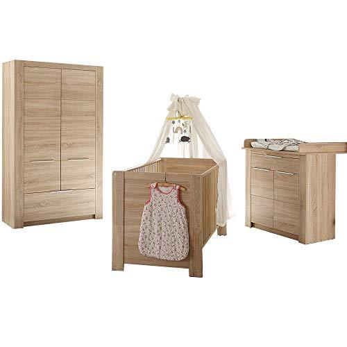trendteam smart living Babyzimmer  3-teiliges Komplett Set Carlotta in Eiche Sägerau Hell Dekor mit viel Stauraum