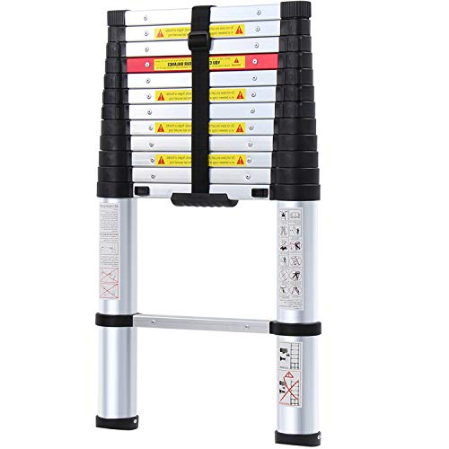 WolfWise 10.5/15.5FT EN131 One-Button Telescopic Slow-Down Ladder Aluminum Stretch High Multi-Purpose Telescopic (LP230004B)