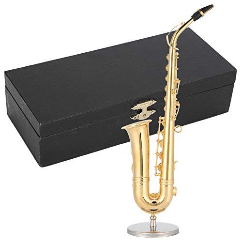 Semiter con Caja de Regalo y Soporte de Adorno de saxofón, Mini Instrumento Musical, Miniatura, Regalo de cumpleaños para Familiares y Amigos