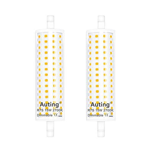 R7S LED 118mm regulable, Auting Bombilla LED R7S 15W Blanco Cálido 2700K Equivalente a R7S 118 mm 150W Lampara Halógena,1500LM,300 Grados,Paquete de 2