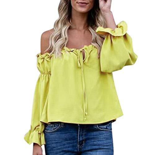 Komise Einfarbiger Modekragen Mit Spitzenbogendamenoberteil(Gelb,M)