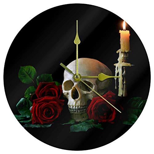 Biaoya Uhr mit Totenkopf-Motiv, rote Rosen, Acryl, dekorative Uhr, für Wohnzimmer, Heimdekoration, modische Uhren, Quarzuhrwerk, große Wand