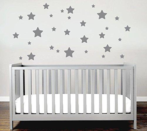 Sterne Sticker Set Kinderzimmer Wandsticker 30er Sterne Set Sticker Wandaufkleber Modern Stern Star Set Kindergarten Babyzimmer (Grau)