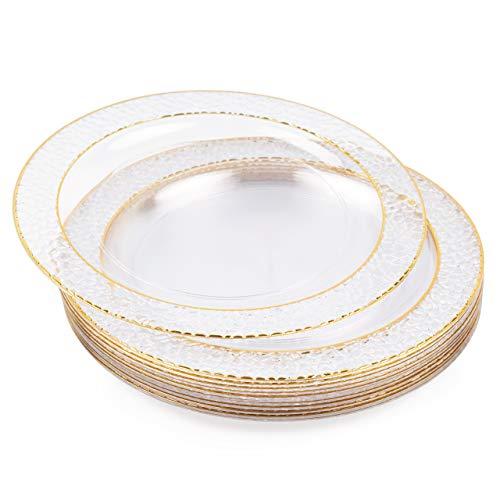 MATANA 20 Platos Transparentes de Plástico Duro con Borde Dorado - 26cm