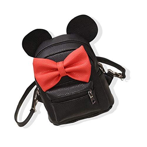 1PC Cartoon Backpack PU Leather Animal Ear Bowknot Mini Backpack Cute Shoulder School Bag Travel Satchel Casual Bag for Kids Girls Practical Tool Utilities