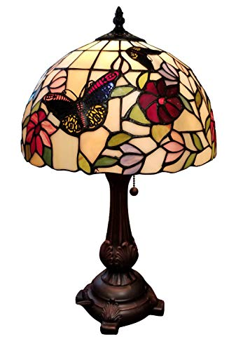 Tiffany Style Table Lamp Banker 19' Tall Stained Glass Red Green White Floral Flower Butterfly Antique Vintage Light Decor Bedside Living Room Bedroom Handmade Gift AM061TL12B Amora Lighting