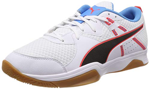 Puma Unisex-Erwachsene Stoker.18 Multisport Indoor Schuhe, Weiß White Black-Red Blast-Bleu Azur-Gum, 40 EU