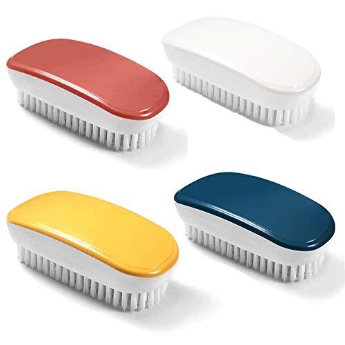 Cepillo de Ropa Suave Cepillo para Fregar Ropa Cepillo de uñas de plástico Cepillo para Zapatos portátil Cepillo de Limpieza de Mano Colorido para Ropa, Zapatos, alfombras, bañera de baño 4 Piezas
