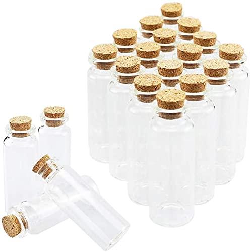 Mini Botellas De Cristal,20 Piezas Mini Botellas De Cristal con Corcho,18ml Vacías Muestras Botella de Cristal,Botellas de Vidrio Pequeñas,para Decoración de DIY,Aromas,Aceites,Especias,Bodas