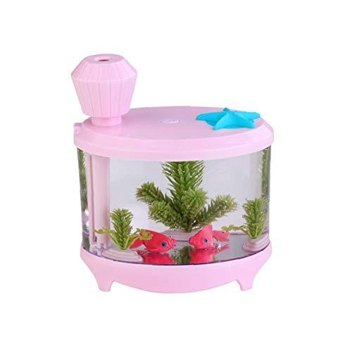 TOPofly Fish Tank humidificador Rosado con el difusor de Aire purificador Fabricante de la Niebla Decoración Acuario USB humidificador