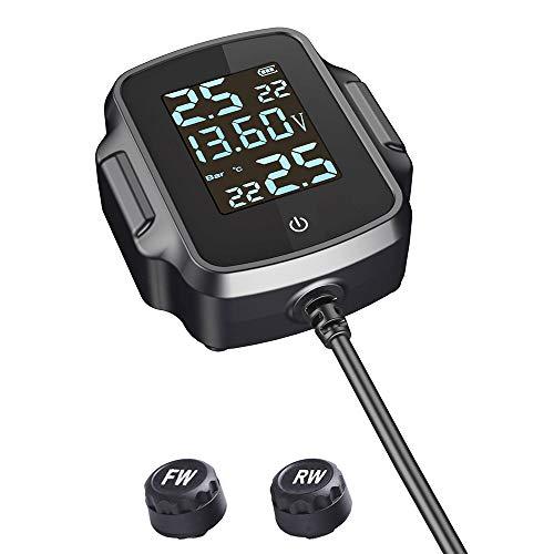 Riiai Sistema de monitoreo de presión de neumáticos de motocicleta Sistema de alarma de temperatura TPMS con cargador USB QC 3.0 para tableta de teléfono
