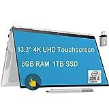 Newest 2020 HP Spectre x360 2 in 1 Laptop 13.3' 4K UHD Touchscreen Intel Quad-Core i5-1035G4 (Beats i7-7500U) 8GB DDR4 1TB SSD Thunderbolt Backlit FP AlexaPen Win 10 + USB-C Adapter
