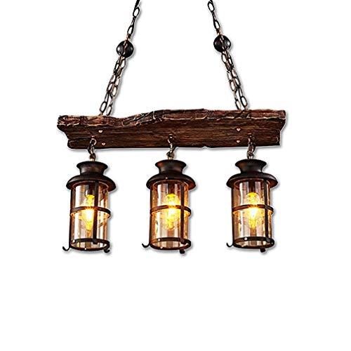 Lámpara colgante retro de madera, industrial, vintage, cand