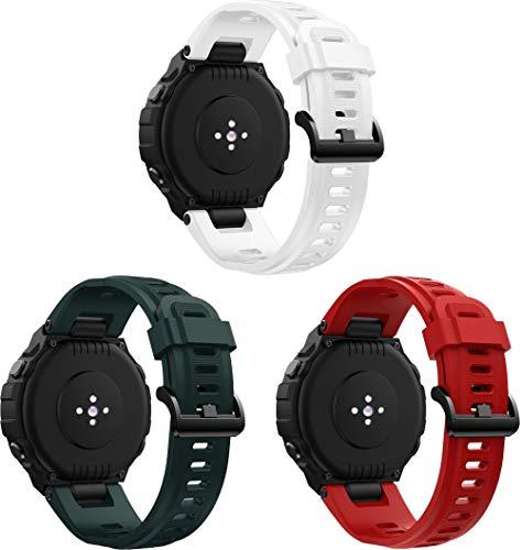 Gransho Compatible con Amazfit T-Rex Correa de Reloj, Banda de Reemplazo Silicona Suave Sports Pulsera (3PCS F)