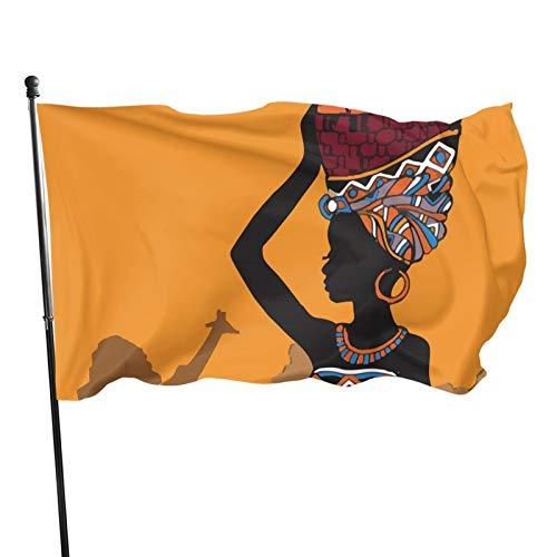 Bandera de jardín con diseño de mujer africana con frutas, decoración de temporada para el hogar, al aire libre, banderas decorativas duraderas para interiores o fiestas, 90 x 150 cm