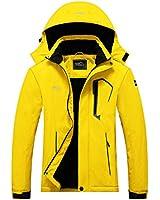 Pooluly Women's Ski Jacket Warm Winter Waterproof Windbreaker Hooded Raincoat Snowboarding Jackets Yellow