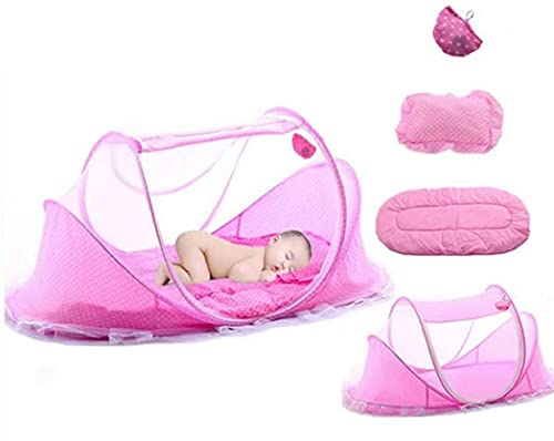 YIKANLIA Baby Travel Cama, Protección UV Cuna Plegable Cuna Mosquitera, Peso Ultraligero con colchón recién Nacido para 0-24 Meses Rosa