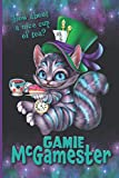 Gamie McGamester – How About A Nice Cup Of Tea?: The Mayhem Report – CONFIDENTIAL: Purple and Teal Blue Cheshire Kitty Cat with Teacup and Pocket Watch Tick Tock Time To Get Gaming Notebook 6x9