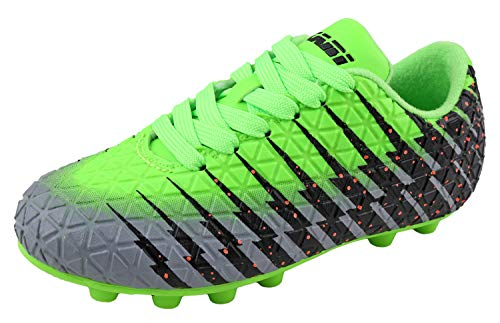 Viazri Boy's Bolt FG Soccer Shoe Green/Black/Silver Green/Black/Silver 8 Toddler