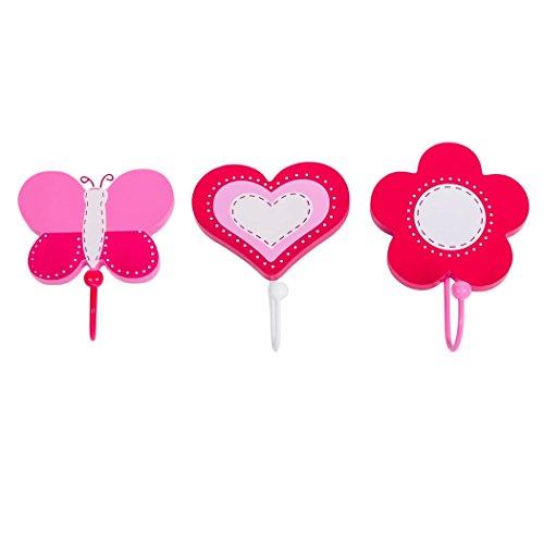 Tinkie Toys - Ganci per cappotto/mollette per bambini, realizzati a mano, con farfalla, fiore e...