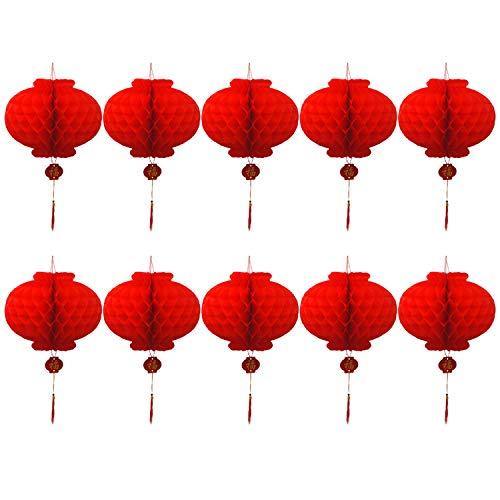 10Pcs Pliable ImperméAble à L'Eau Bonne Fortune Lanternes De Papier Rouge Pour Le Nouvel An Chinois Festival De FêTe Du Printemps CéLéBration De La DéCoration 30Cm