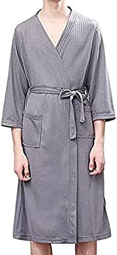 Pijama Vestido de vestidor de algodón poli absorbente de ropa de noche con bolsillos de cinturón de cuello en v de bolsillo kimono bata Traje de encaje (Color : Gray, Size : M)