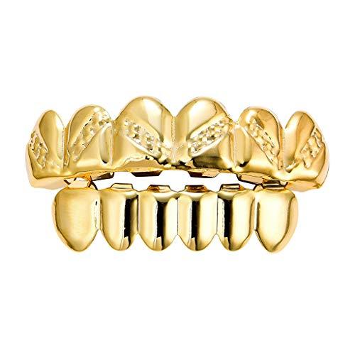 dailymall 18K Oben und unten Zähne Grills, Dentalgrill Zahnschmuck für Mund Hip-Hop-Halterung - Golden