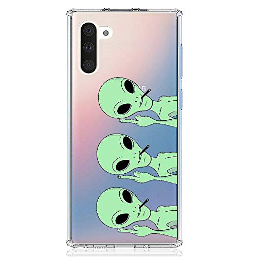 HUIYCUU Case Compatible with Galaxy Note 10 Case, Cute Animal Pattern Slim Fit Soft TPU Protective Cover Clear Design Funny Thin Novelty Bumper Back Case for Samsung Galaxy Note 10, Aliens