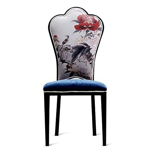 Tela de franela Silla trasera grande, silla de patrón de animales, silla de comedor 3D, silla de comedor de hierro, tema de olla caliente Restaurante banquete casero Moderno Silla trasera CHICAI