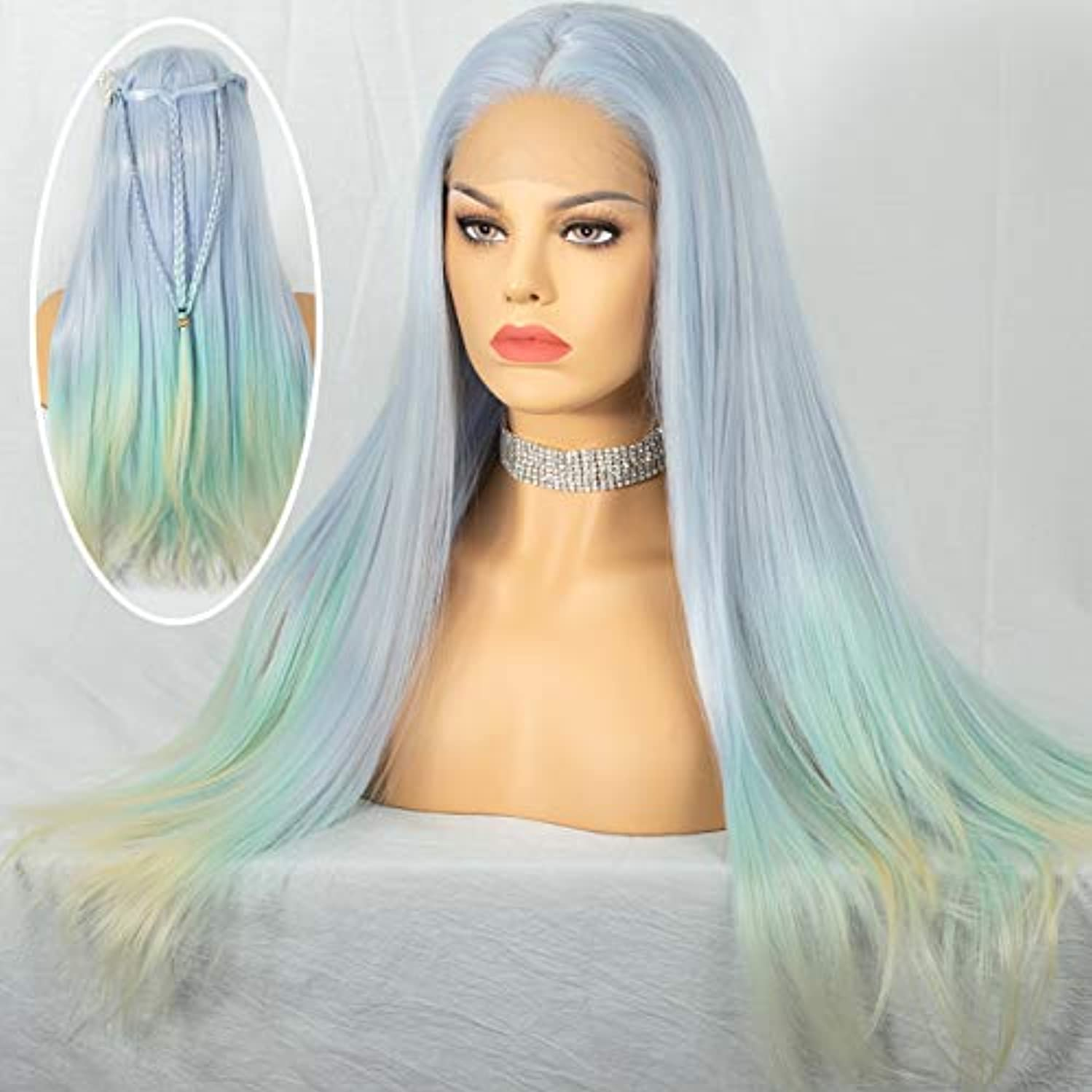 Cosswigs Ombre Blue Lace Front Wig for Women Silky Straight Pastels Mix Light Blue Synthetic Lace Wigs Heat Resistant Fiber Free Part 24inches