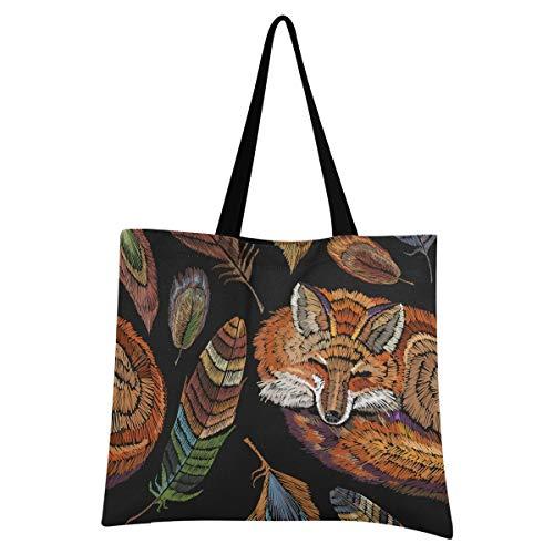 XIXIXIKO - Bolsa de lona para mujer, diseño de zorro tribal colorido, ligera, para playa, viajes, bolsa de lona