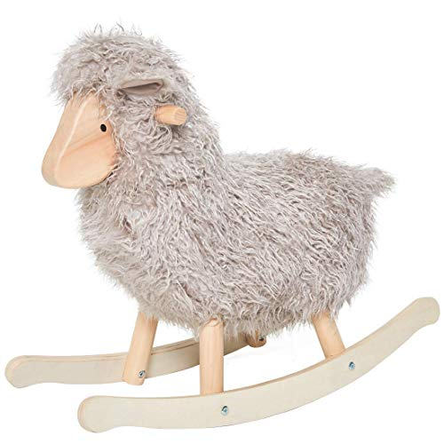 labebe - Grey Lamb Sheep Rocking Horse, Plush Animal Rocker for Child 1-3 Year Old, Wooden Kid Ride On Toy Stuffed for Infant/Toddler Girl&Boy, Nursery Birthday Gift