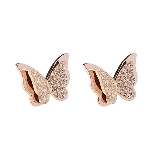 BIGBOBA - Eleganti Orecchini a Bottone a Forma di Farfalla, in Oro Rosa, per Donne/Ragazze (Farfalla)