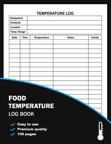 Food Temperature Log Book: food temp log book, , Temperature Log Sheet For...