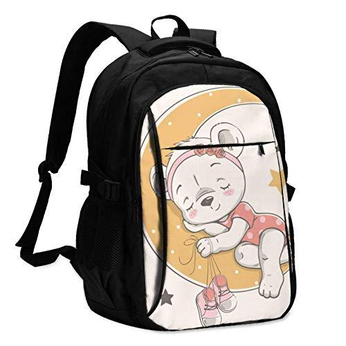 XCNGG Cartoon Cute Baby Bear Moon Travel Laptop Backpack with USB Charging Port Multifunction Work School Bag