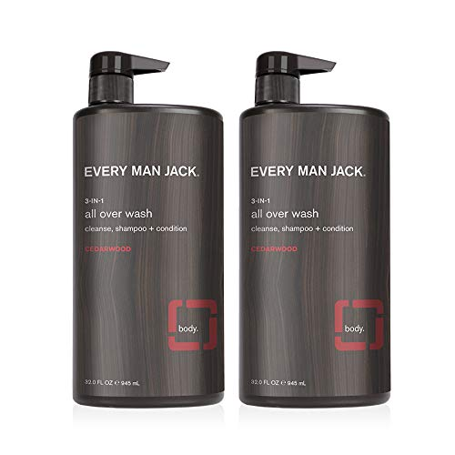 Every Man Jack Mens Cleansing 3-in-1 All Over Wash for All Skin and Hair Types - Cleanse, Nourish, and Repair Your Skin and Hair with Naturally Derived Soy Proteins, Aloe, Glycerin and a Rugged Cedarwood Scent - Twin Pack