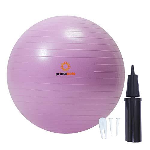 Primasole PSS91NH056A Gymnastikball, 45 cm, für Yoga / Pilates / Fitness zu Hause und im Fitnessstudio, mit Pumpe, für Damen und Herren, für Rücken- und Bauchmuskeltraining, Rosa