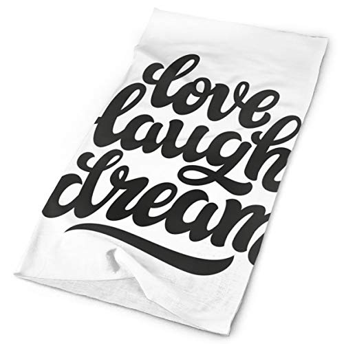 GUUi Headwear Headband Head Scarf Wrap Sweatband,Hand Drawn Typography Design Monochrome Love Laugh Dream Quote Inspirational,Sport Headscarves for Men Women